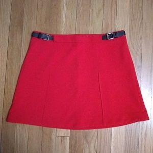 Express NWT Red with black side design belt Skirt